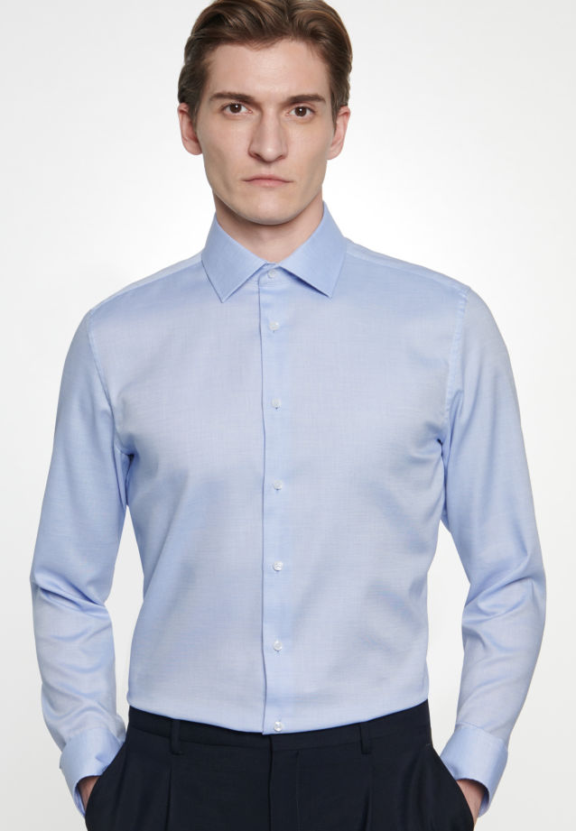 Non-iron Structure Business Shirt in Slim with Kent-Collar in Light blue |  Seidensticker Onlineshop
