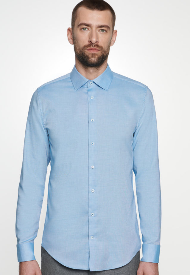 Non-iron Structure Business Shirt in Slim with Kent-Collar in Turquoise |  Seidensticker Onlineshop