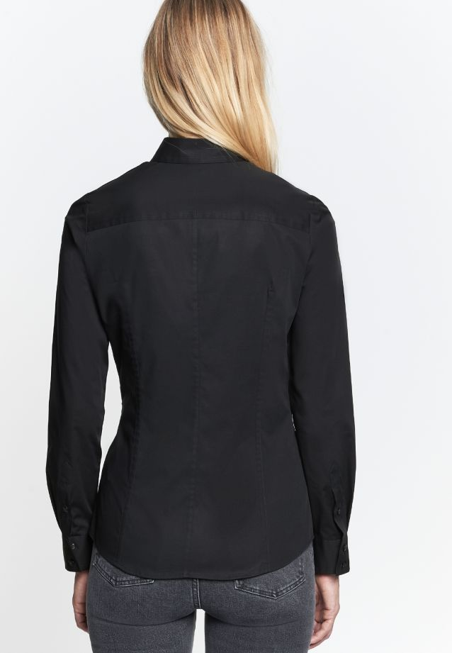 Poplin Shirt Blouse made of 96% Cotton 4% Elastane in schwarz |  Seidensticker Onlineshop