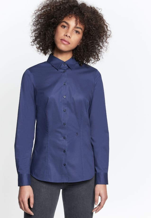 Poplin Shirt Blouse made of 96% Cotton 4% Elastane in navy |  Seidensticker Onlineshop