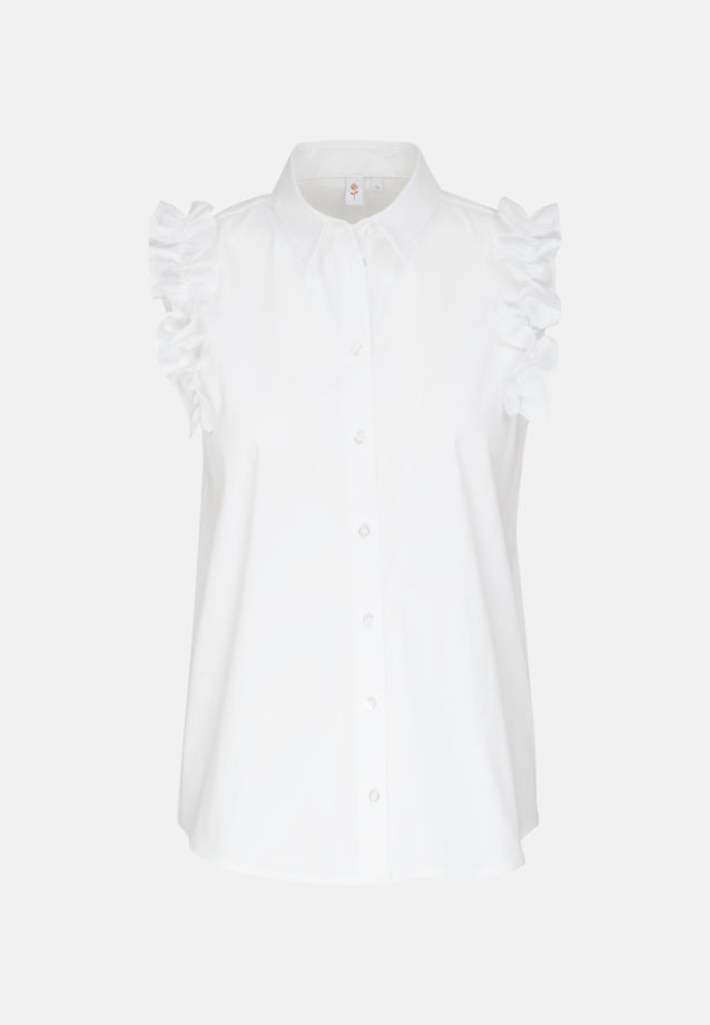 Sleeveless Poplin Shirt Blouse made of 81% Cotton 16% Polyamid/Nylon 3% Elastane in White |  Seidensticker Onlineshop