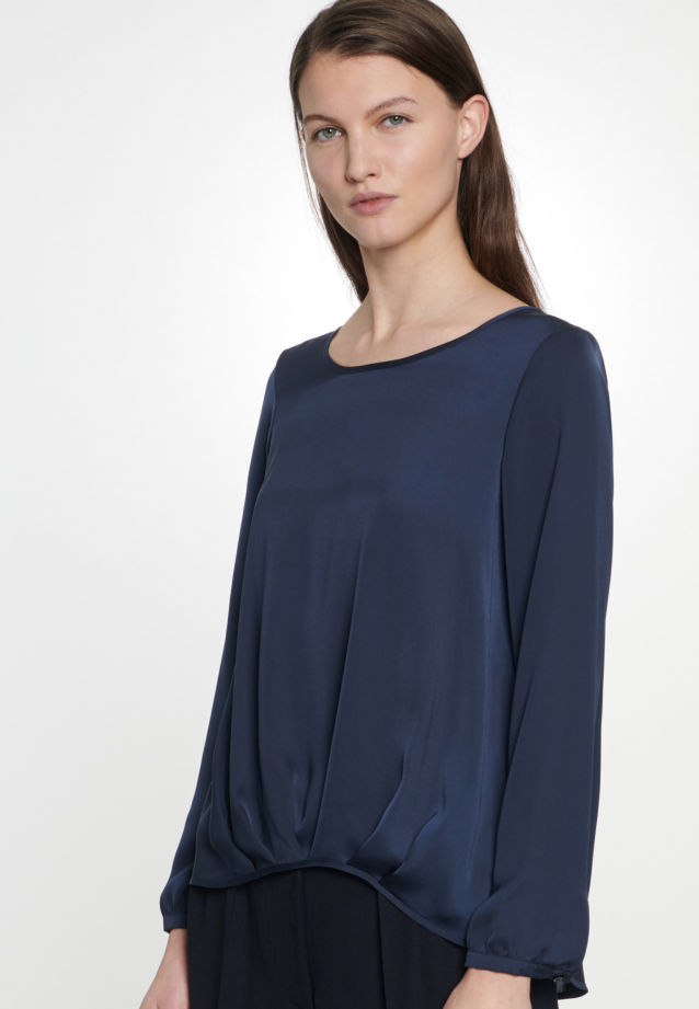Satin Schlupfbluse aus 100% Polyester in Mittelblau |  Seidensticker Onlineshop