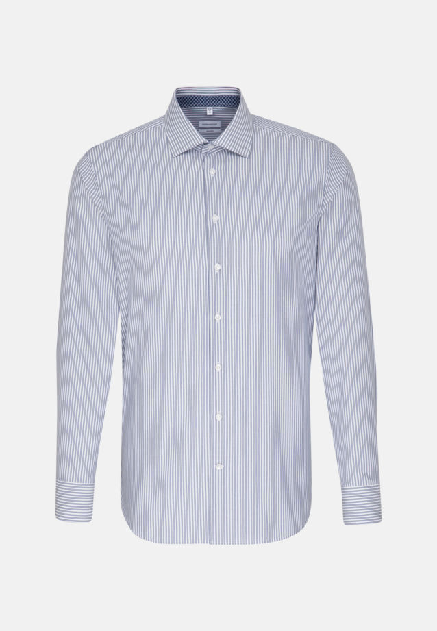 Non-iron Poplin Business Shirt in Tailored with Kent-Collar in Medium blue |  Seidensticker Onlineshop