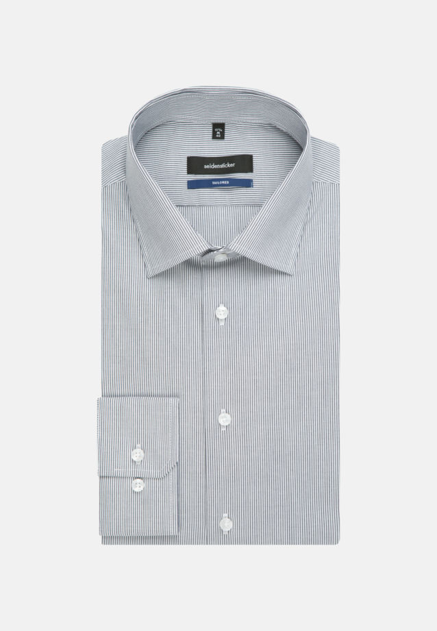 Non-iron Poplin Business Shirt in Tailored with Kent-Collar and extra short arm in Dark blue |  Seidensticker Onlineshop