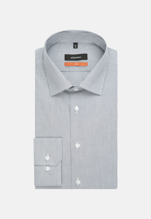 Non-iron Poplin Business Shirt in Slim with Kent-Collar and extra short sleeve in Dark blue |  Seidensticker Onlineshop