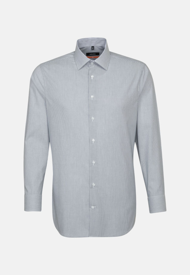Non-iron Poplin Business Shirt in Slim with Kent-Collar and extra short arm in Dark blue |  Seidensticker Onlineshop