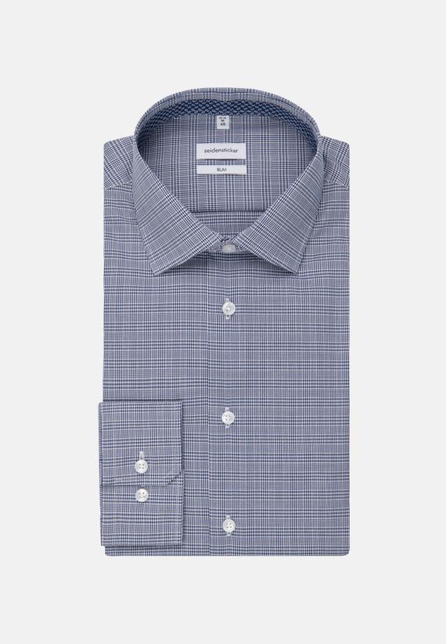 Non-iron Glencheck Business Shirt in Slim with Kent-Collar in Medium blue |  Seidensticker Onlineshop