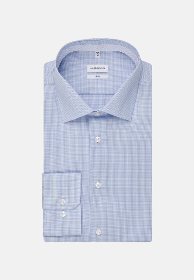 Non-iron Glencheck Business Shirt in Slim with Kent-Collar in Light blue |  Seidensticker Onlineshop