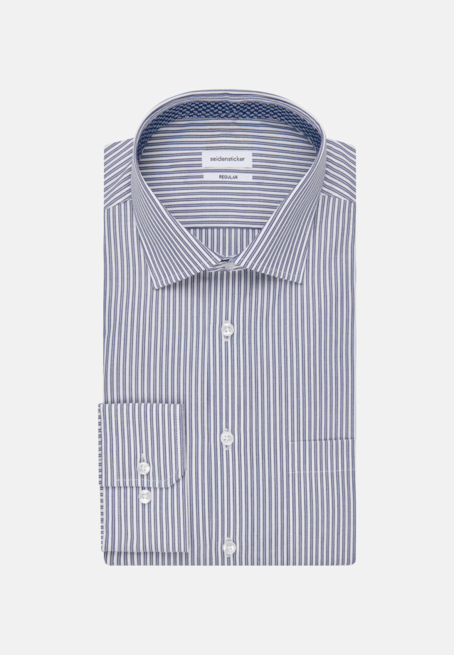 Non-iron Poplin Business Shirt in Modern with Kent-Collar in Medium blue |  Seidensticker Onlineshop