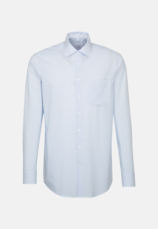 Non-iron Poplin Business Shirt in Modern with Kent-Collar in Light blue |  Seidensticker Onlineshop