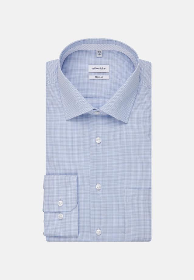 Non-iron Glencheck Business Shirt in Regular with Kent-Collar in Light blue |  Seidensticker Onlineshop