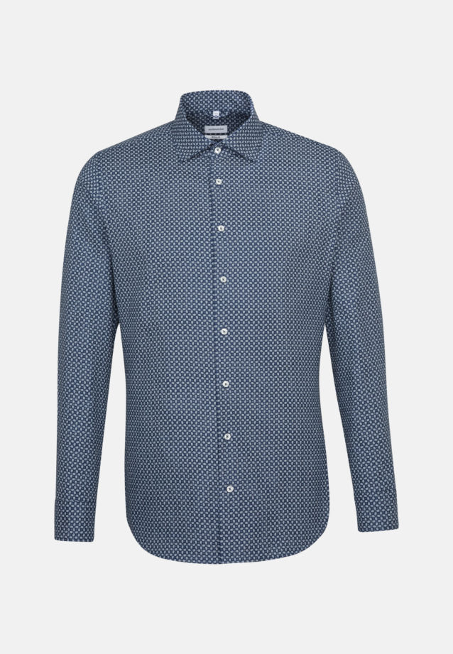 Easy-iron Structure Business Shirt in Regular with Kent-Collar in Medium blue |  Seidensticker Onlineshop