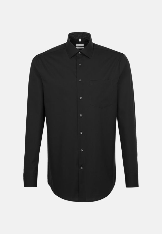 Non-iron Poplin Business Shirt in Comfort with Kent-Collar in Schwarz |  Seidensticker Onlineshop