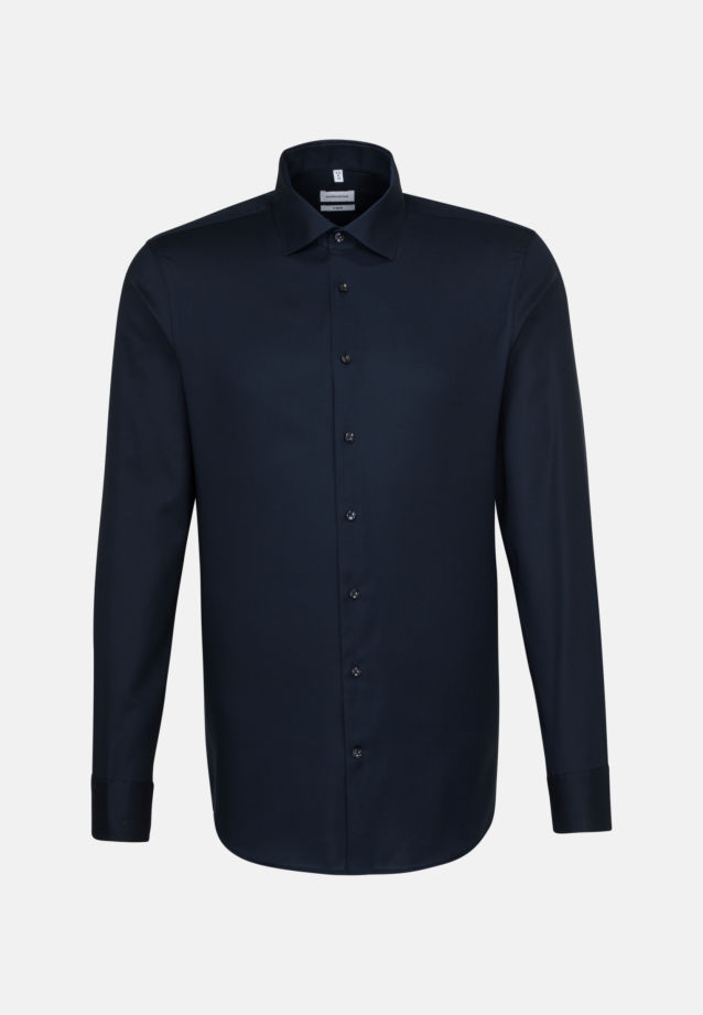Non-iron Structure Business Shirt in X-Slim with Kent-Collar in Dark blue |  Seidensticker Onlineshop