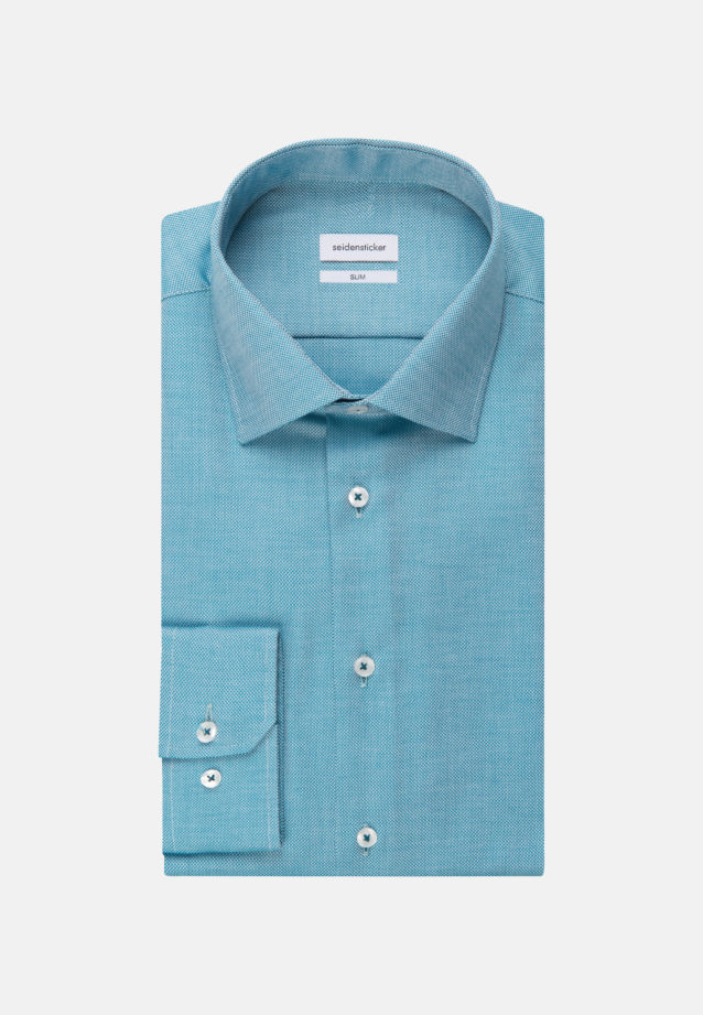 Non-iron Structure Business Shirt in Slim with Kent-Collar in Türkis/Petrol |  Seidensticker Onlineshop