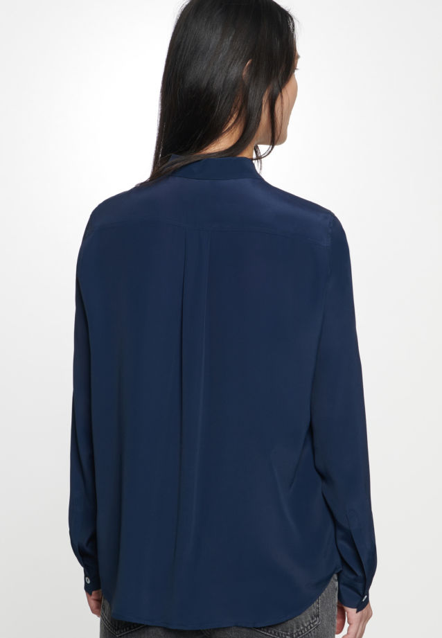 Crepe Shirt Blouse made of silk blend in Dark blue |  Seidensticker Onlineshop