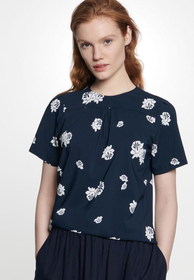 Kurzarm Popeline Shirtbluse aus 95% Viskose 5% Elastan in Dunkelblau |  Seidensticker Onlineshop