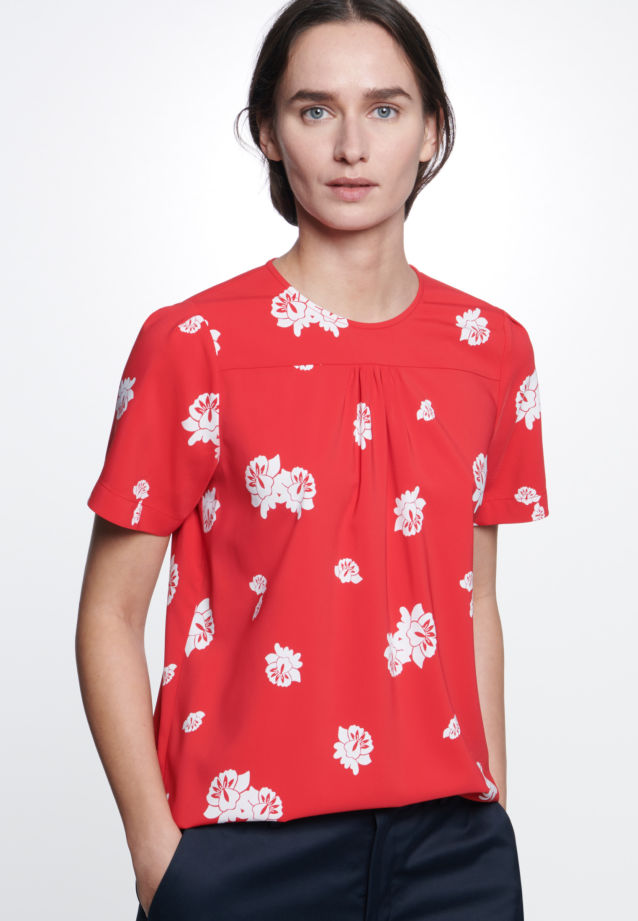 Short sleeve Crepe Shirt Blouse made of viscose blend in Red |  Seidensticker Onlineshop
