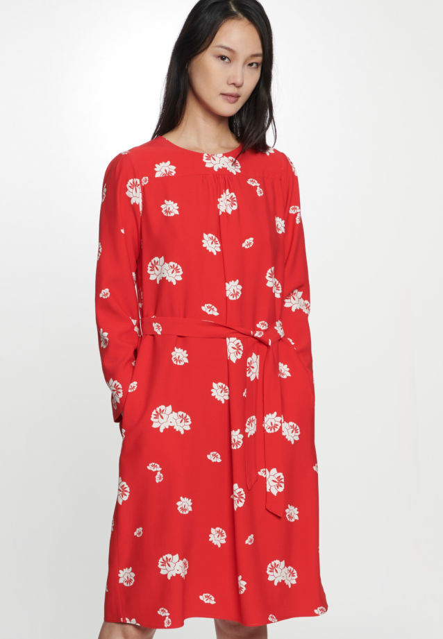 Poplin Midi Dress made of viscose blend in Red |  Seidensticker Onlineshop