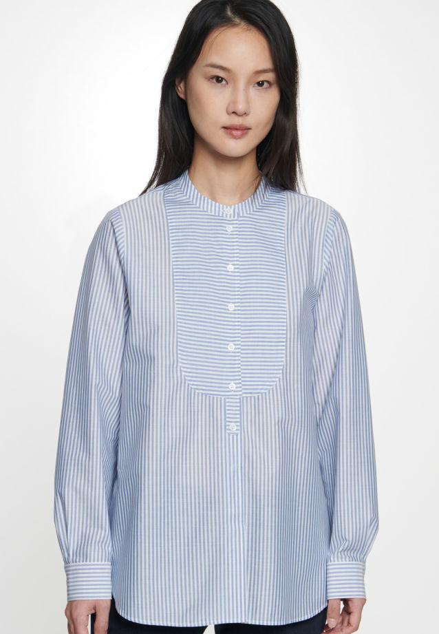 Poplin Stand-Up Blouse made of 100% Cotton in Medium blue |  Seidensticker Onlineshop