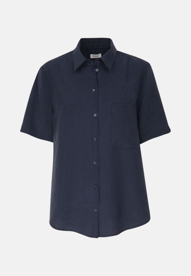 Short arm Twill Shirt Blouse made of 90% Lyocell 10% Polyethylen in Dark blue |  Seidensticker Onlineshop
