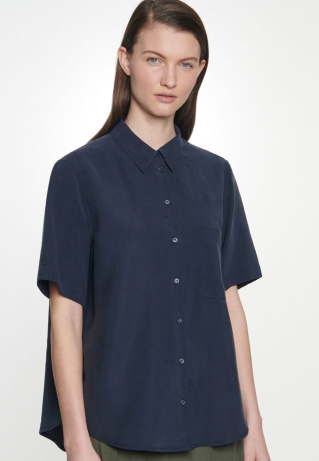 Kurzarm Twill Hemdbluse aus Tencelmischung in Dunkelblau |  Seidensticker Onlineshop