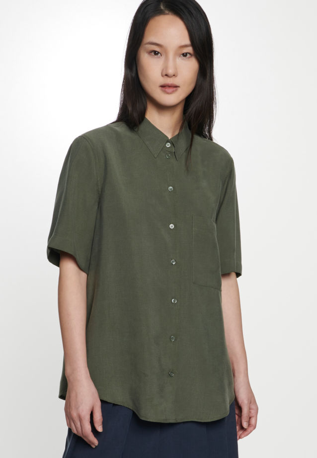 Short arm Twill Shirt Blouse made of 90% Lyocell 10% Polyethylen in Green |  Seidensticker Onlineshop
