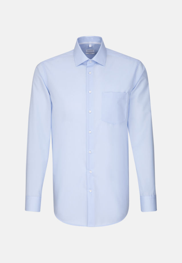 Non-iron Poplin Business Shirt in Comfort with Kent-Collar in Medium blue |  Seidensticker Onlineshop