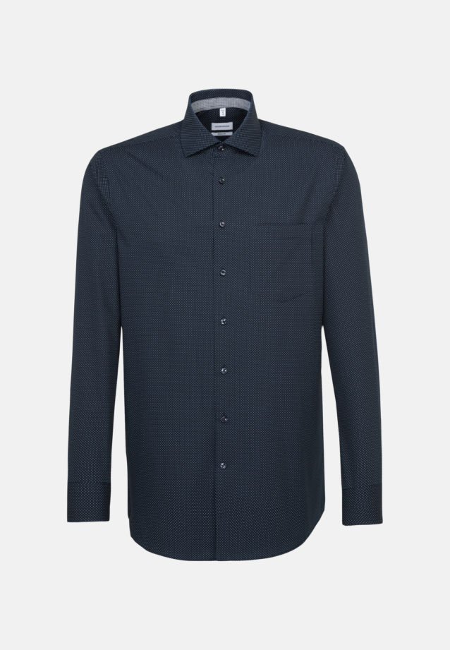 Easy-iron Poplin Business Shirt in Modern with Kent-Collar in Dark blue |  Seidensticker Onlineshop