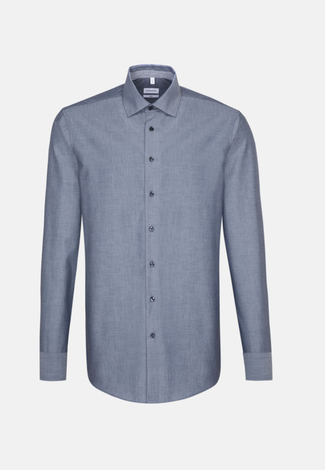 Non-iron Chambray Business Shirt in Slim with Kent-Collar in Dark blue |  Seidensticker Onlineshop