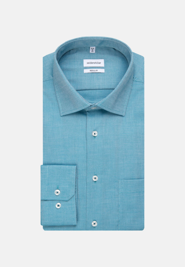 Non-iron Structure Business Shirt in Regular with Kent-Collar in Türkis/Petrol |  Seidensticker Onlineshop