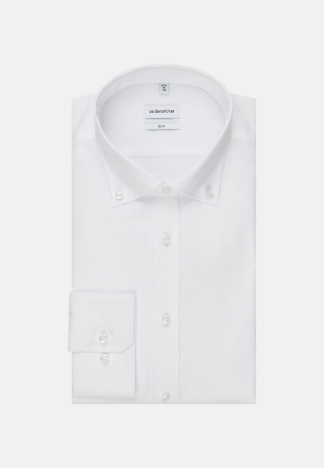 Bügelfreies Popeline Business Hemd in Slim mit Button-Down-Kragen in Weiß |  Seidensticker Onlineshop