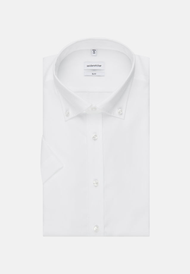 Non-iron Poplin Short sleeve Business Shirt in Slim with Button-Down-Collar in White |  Seidensticker Onlineshop