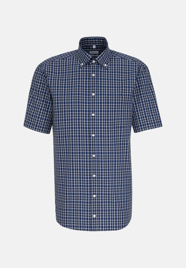 Non-iron Poplin Short arm Business Shirt in Comfort with Button-Down-Collar in Medium blue |  Seidensticker Onlineshop