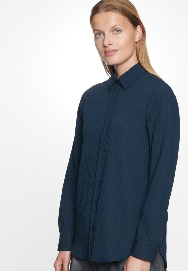 Voile Shirt Blouse made of viscose blend in Dark blue |  Seidensticker Onlineshop