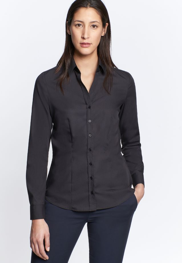 Non-iron Fil a fil Shirt Blouse made of 100% Cotton in schwarz |  Seidensticker Onlineshop