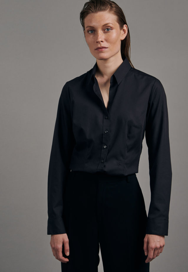 Non-iron Fil a fil Shirt Blouse made of 100% Cotton in Black |  Seidensticker Onlineshop