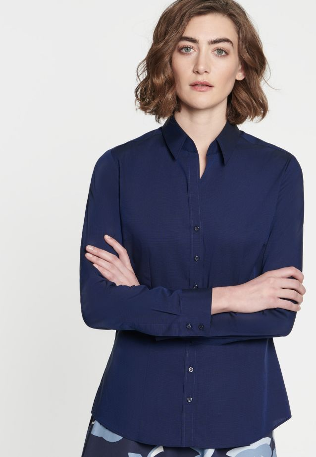 Non-iron Fil a fil Shirt Blouse made of 100% Cotton in Dunkelblau |  Seidensticker Onlineshop