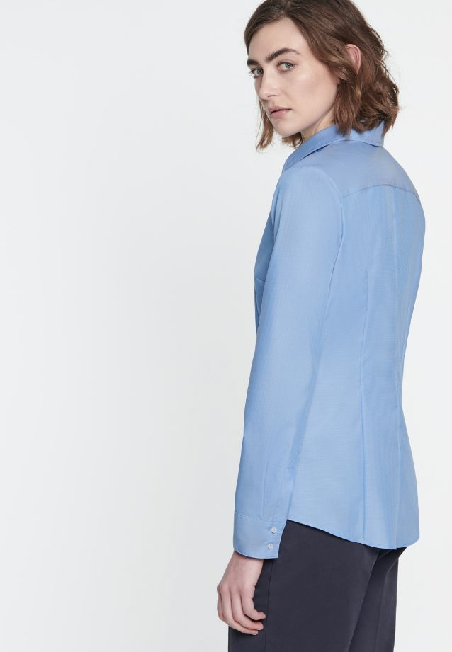 Non-iron Fil a fil Shirt Blouse made of 100% Cotton in mittelblau |  Seidensticker Onlineshop