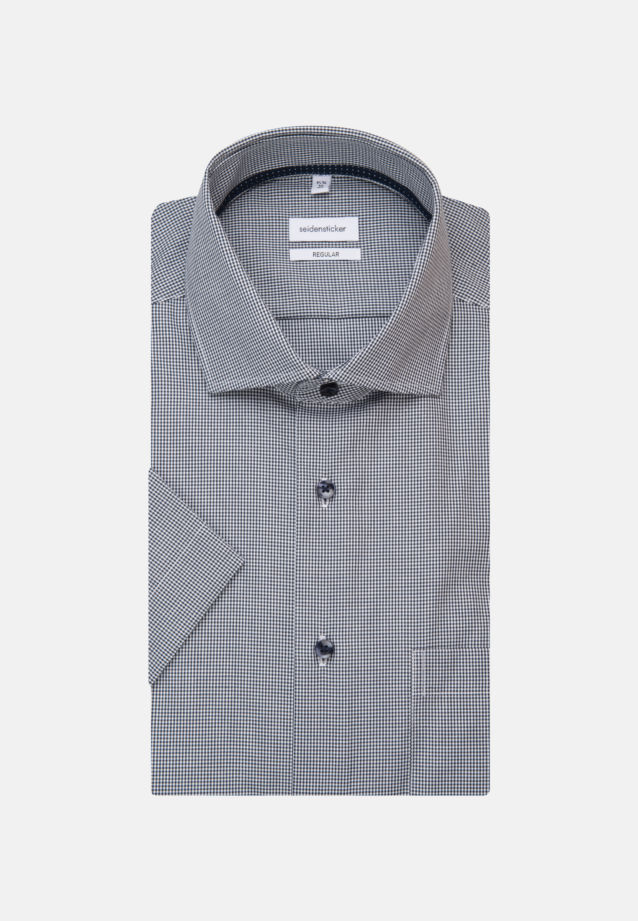 Non-iron Poplin Short sleeve Business Shirt in Regular with Kent-Collar in Dark blue |  Seidensticker Onlineshop