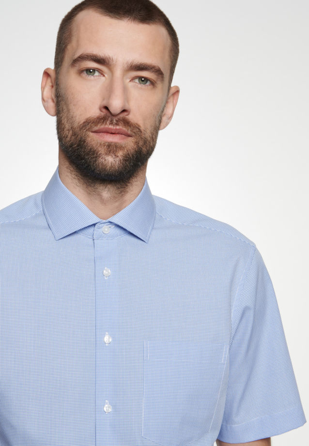 Non-iron Poplin Short arm Business Shirt in Regular with Kent-Collar in Light blue |  Seidensticker Onlineshop