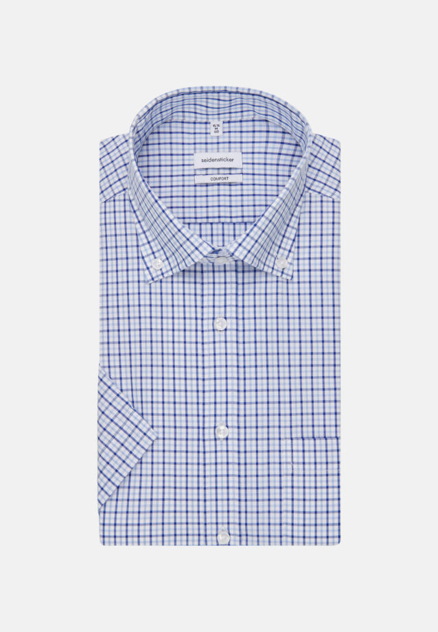 Non-iron Poplin Short sleeve Business Shirt in Comfort with Button-Down-Collar in Medium blue |  Seidensticker Onlineshop