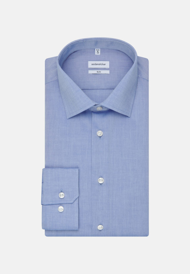 Non-iron Chambray Business Shirt in Slim with Kent-Collar in Medium blue |  Seidensticker Onlineshop