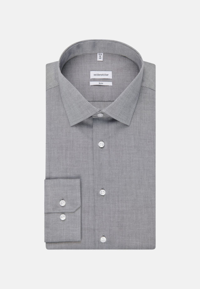 Bügelfreies Chambray Business Hemd in Slim mit Kentkragen in Grau |  Seidensticker Onlineshop