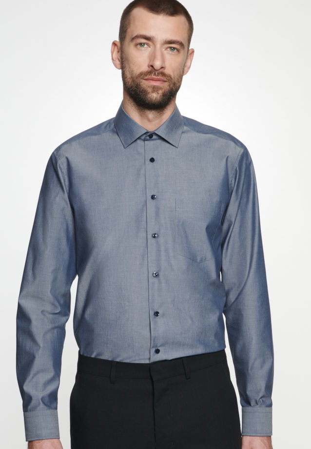Non-iron Chambray Business Shirt in Comfort with Kent-Collar in Dark blue |  Seidensticker Onlineshop