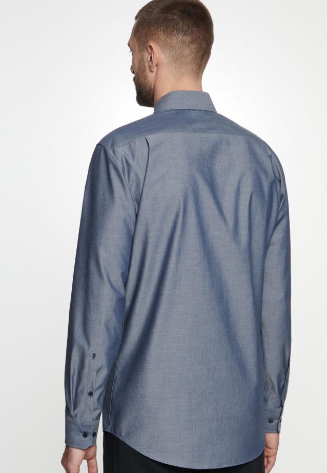 Bügelfreies Chambray Business Hemd in Comfort mit Kentkragen in Dunkelblau |  Seidensticker Onlineshop