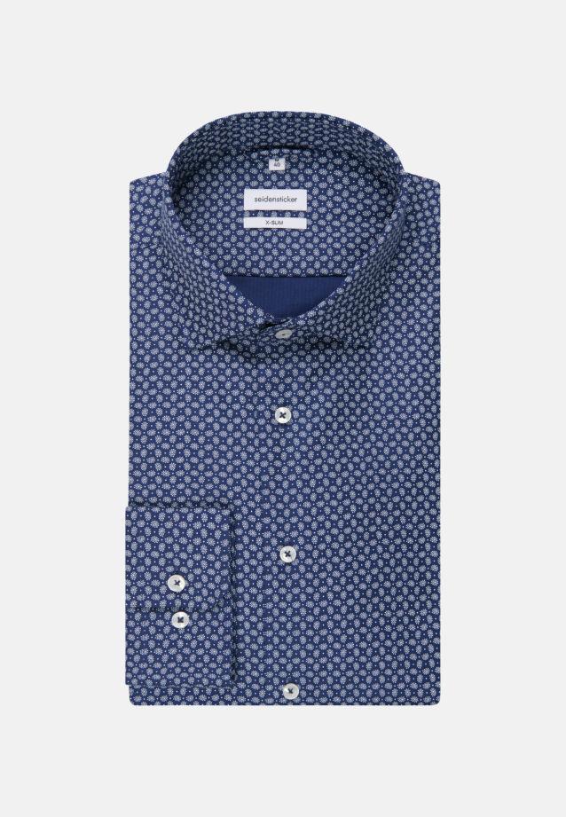 Bügelleichtes Struktur Business Hemd in X-Slim mit Kentkragen in Mittelblau |  Seidensticker Onlineshop