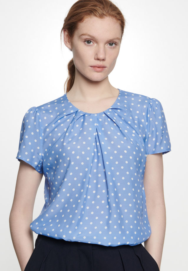 Short arm Voile Shirt Blouse made of 100% Viscose in Medium blue |  Seidensticker Onlineshop