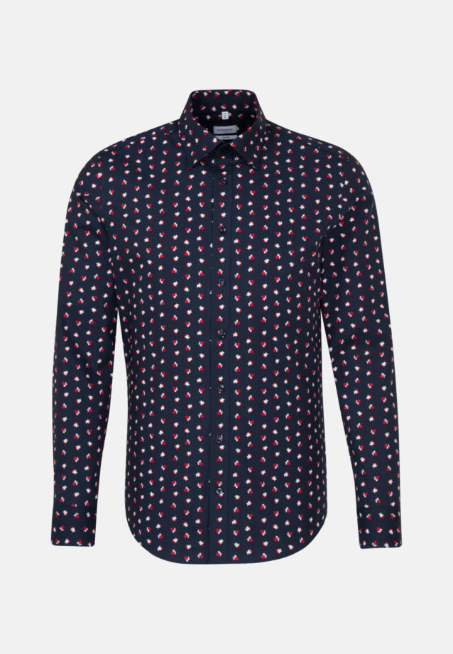 Easy-iron Poplin Business Shirt in Shaped with Covered-Button-Down-Collar in Red |  Seidensticker Onlineshop