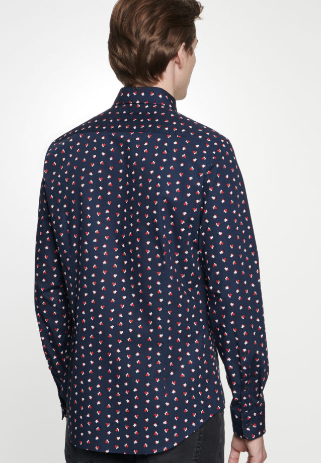 Bügelleichtes Popeline Business Hemd in Shaped mit Covered-Button-Down-Kragen in Rot |  Seidensticker Onlineshop